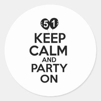 51st birthday designs classic round sticker
