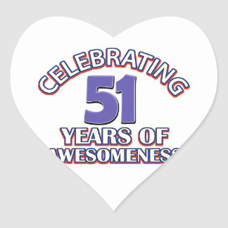 51st birthday designs heart sticker