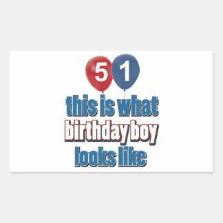 51st birthday designs rectangular sticker
