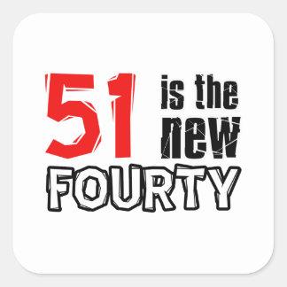 51st birthday designs square sticker