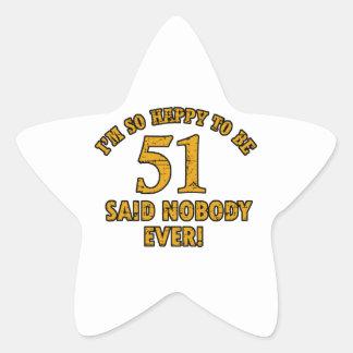 51st birthday designs star sticker