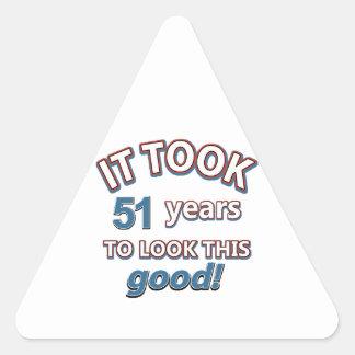 51st birthday designs triangle sticker