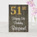 [ Thumbnail: 51st Birthday: Elegant Faux Gold Look #, Faux Wood Card ]