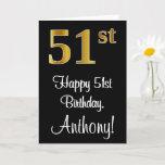 [ Thumbnail: 51st Birthday ~ Elegant Luxurious Faux Gold Look # Card ]