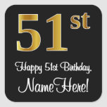 [ Thumbnail: 51st Birthday – Elegant Luxurious Faux Gold Look # Sticker ]