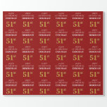 [ Thumbnail: 51st Birthday: Elegant, Red, Faux Gold Look Wrapping Paper ]