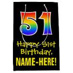 "[ Thumbnail: 51st Birthday: Fun, Bold, Colorful, Rainbow ""51"" Gift Bag ]"