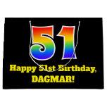[ Thumbnail: 51st Birthday ~ Fun, Colorful, Vibrant, Rainbow 51 Gift Bag ]