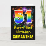 [ Thumbnail: 51st Birthday: Fun Fireworks Pattern + Rainbow 51 Card ]