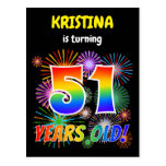 "[ Thumbnail: 51st Birthday - Fun Fireworks, Rainbow Look ""51"" Postcard ]"