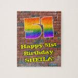 [ Thumbnail: 51st Birthday: Fun Graffiti-Inspired Rainbow 51 Jigsaw Puzzle ]