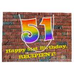[ Thumbnail: 51st Birthday: Fun, Graffiti-Inspired Rainbow # 51 Gift Bag ]