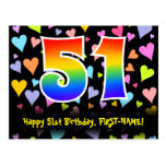 [ Thumbnail: 51st Birthday: Fun Hearts Pattern, Rainbow 51 Postcard ]