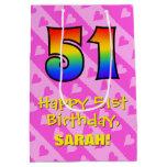 [ Thumbnail: 51st Birthday: Fun Pink Hearts Stripes; Rainbow 51 Gift Bag ]