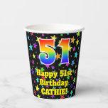 [ Thumbnail: 51st Birthday: Fun Stars Pattern and Rainbow 51 ]