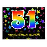 [ Thumbnail: 51st Birthday: Fun Stars Pattern, Rainbow 51, Name Postcard ]