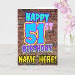[ Thumbnail: 51st Birthday - Fun, Urban Graffiti Inspired Look Card ]