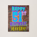 [ Thumbnail: 51st Birthday ~ Fun, Urban Graffiti Inspired Look Jigsaw Puzzle ]