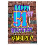 [ Thumbnail: 51st Birthday: Fun, Urban Graffiti Inspired Look Gift Bag ]