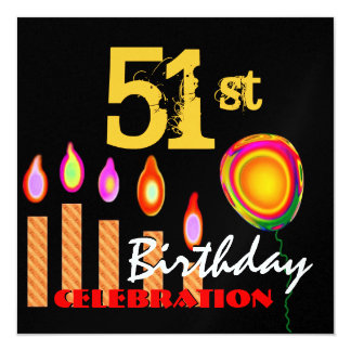 51st Birthday Gold Candles and Balloon Metallic Card