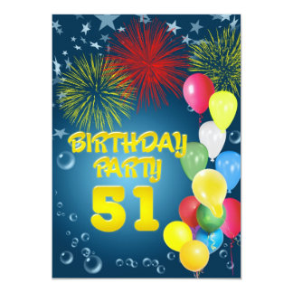 51st Birthday party Invitation with balloons