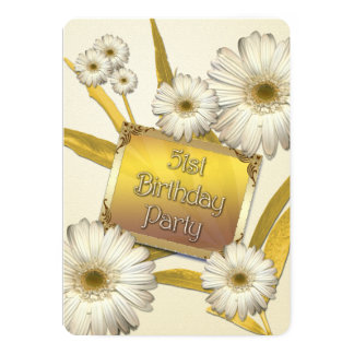 51st Birthday Party Invitation with daisies