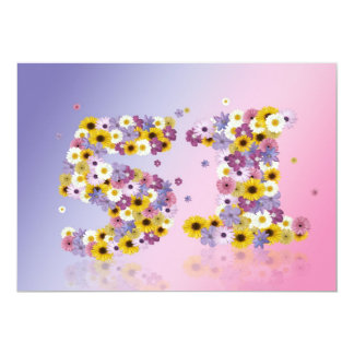 51st Birthday party, with flowered letters Card