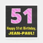 "[ Thumbnail: 51st Birthday: Pink Stripes and Hearts ""51"" + Name Napkins ]"