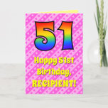 [ Thumbnail: 51st Birthday: Pink Stripes & Hearts, Rainbow # 51 Card ]