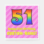 [ Thumbnail: 51st Birthday: Pink Stripes & Hearts, Rainbow # 51 Napkins ]