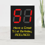 """[ Thumbnail: 51st Birthday: Red Digital Clock Style """"51"""" + Name Card ]"""