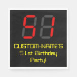 "[ Thumbnail: 51st Birthday: Red Digital Clock Style ""51"" + Name Napkins ]"