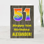 "[ Thumbnail: 51st Birthday: Rustic Faux Wood Look, Rainbow ""51"" Card ]"