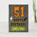 [ Thumbnail: 51st Birthday: Spooky Halloween Theme, Custom Name Card ]