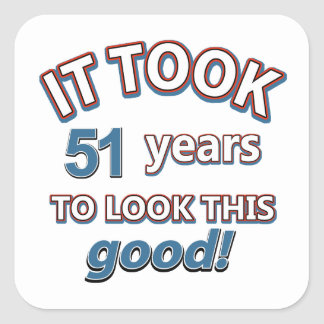 51st year birthday designs square sticker