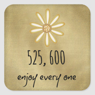 525.600 disfrute de cada minuto pegatina cuadrada