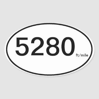 5280 ft/mile oval sticker