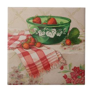5284 Strawberries in Green Bowl Tile