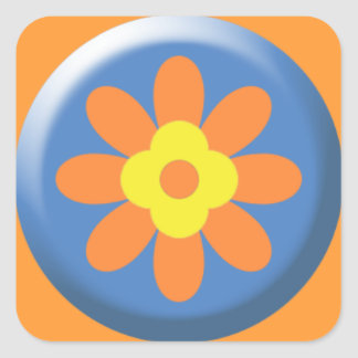 5289_flower BLUE YELLOW LIGHT ORANGE FLOWER GRAPHI Square Sticker