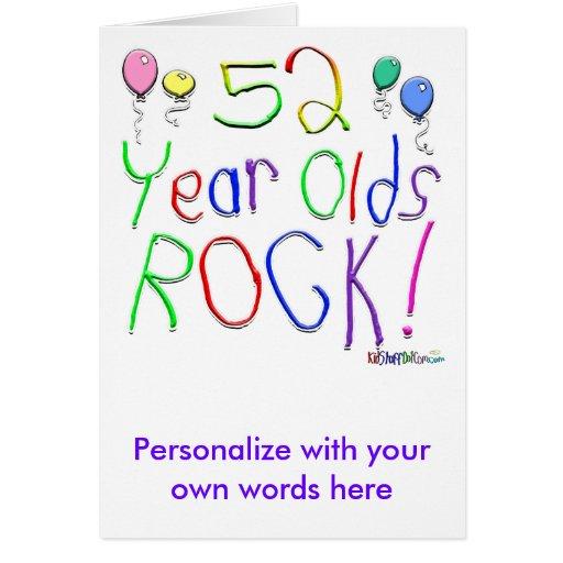 ¡52 años de la roca! tarjeta de felicitación
