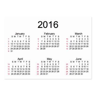 52 calendario de la semana 2016 por las tarjetas tarjetas de visita grandes