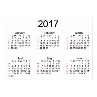 52 calendario del blanco de la semana 2017 por las tarjetas de visita grandes