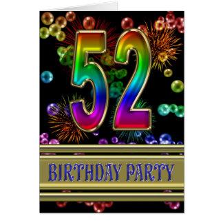 52.o Invitación de la fiesta de cumpleaños Tarjetas