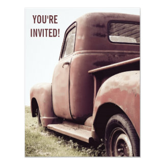 52 Primer Vintage Pickup Truck Party for Old Guy 4.25x5.5 Paper Invitation Card