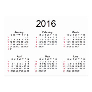52 Week 2016 Calendar by Janz Business Cards