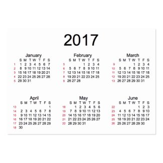 Printable Picture Of The 2016 2017 Busines Card Calendar | Calendar ...