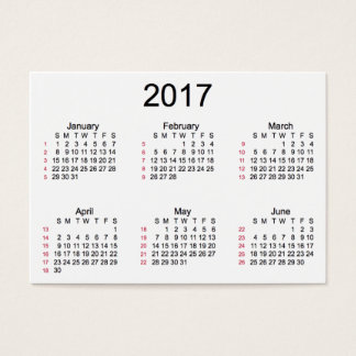 52 Week 2017 White Calendar by Janz Business Cards