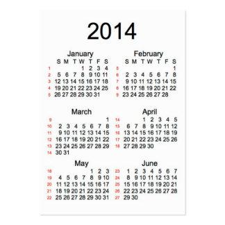 52 Week Calendar 2014 Business Cards