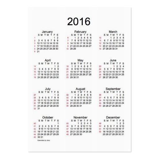 52 Week Calendar 2016 Business Cards | Zazzle