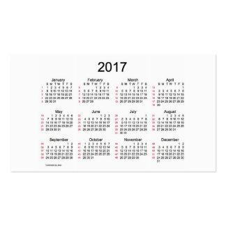 52 Week Calendar 2017 Business Cards
